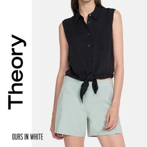 🆕 NWOT Theory Tie Front Blouse in Stretch Silk